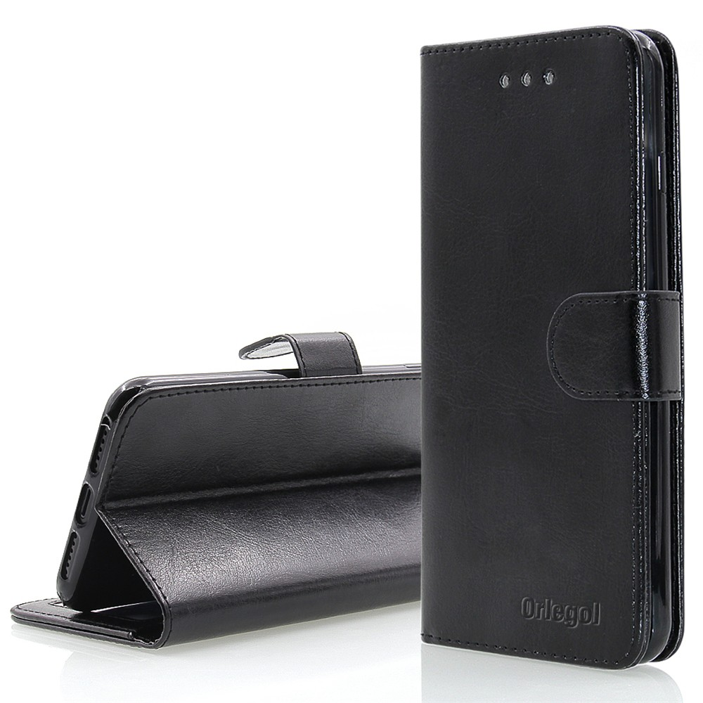 ORLEGOL Flip Leather Wallet Phone Case Premium Wallet Case with Stand Flip Cover Bumper Case for iPhone 7 Black