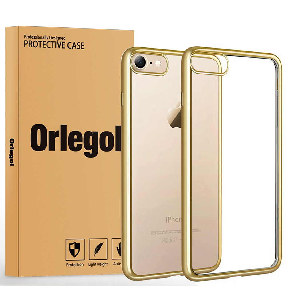 ORLEGOL Soft Bumper Protector Touch Flexible Gel TPUCover Transparent Protective Back Cover for iPhone 7 Gold