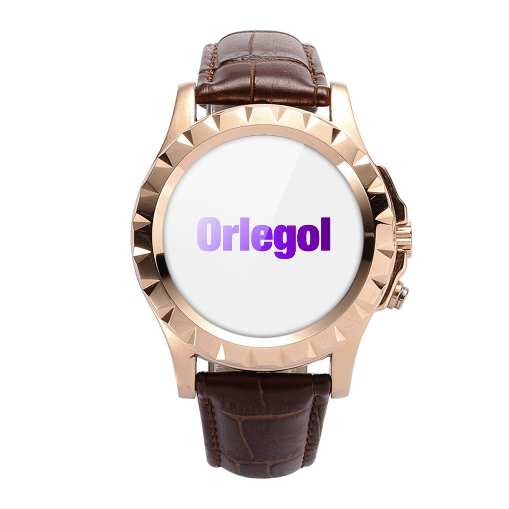 ORLEGOL Smartwatch Gold with Leather Brown Case Quad-core Cpu Bluetooth V4.0