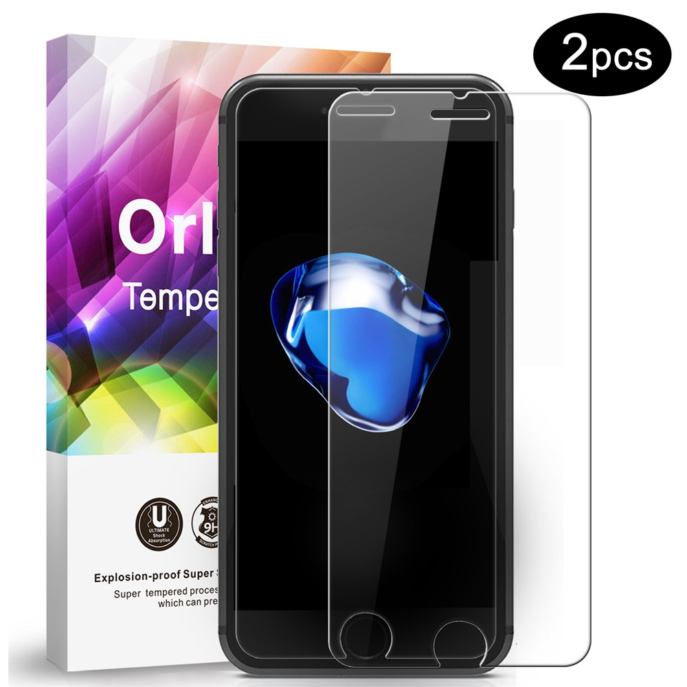 ORLEGOL Tempered Glass Film Ultra High Definition Invisible Anti-Fingerprint Screen Protector for iPhone 7 Plus - 2 Pack