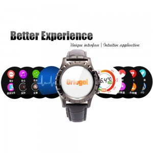 ORLEGOL Smartwatch Black with Leather Black Case Quad-core Cpu Bluetooth V4.0