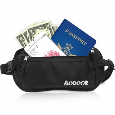 Aodoor Adjustable Money Belt with RFID Protection, Lightweight Waist Pack
